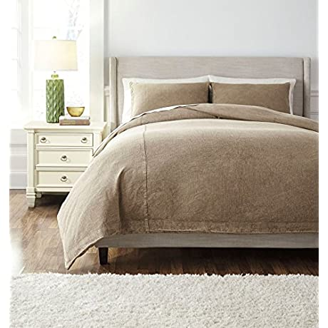 Signature Design By Ashley Q477003Q Duvet Set Queen Light Brown
