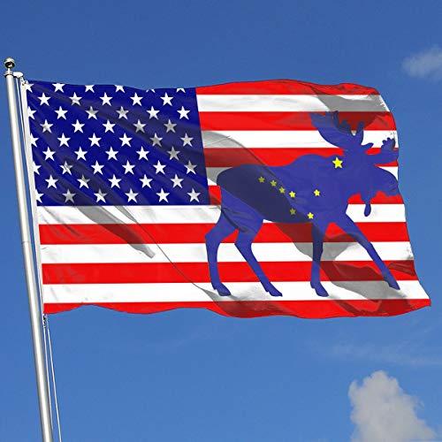Alaska Flag Moose Flag 3x5-Flags 90x150CM-Banner 3'x5' - Alaska Flag