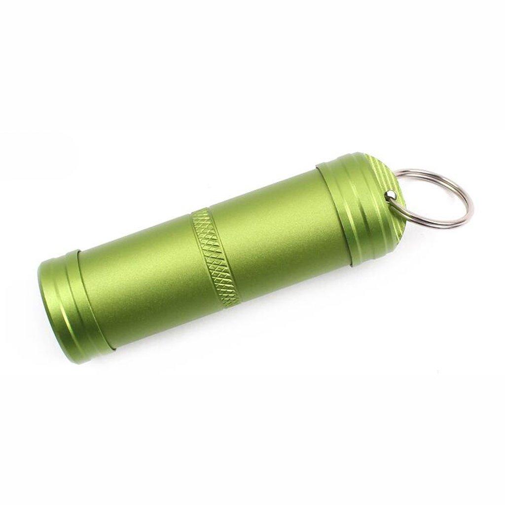 Pilulier Boîte de Pilules Imperméable Porte-clés en Alliage d'Aluminium Vert S MagiDeal STK0154002511