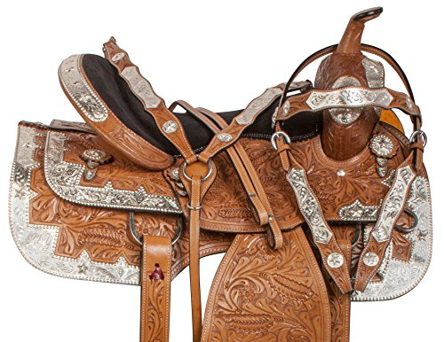 Leather Western Show Saddle (PREMIUM HAND CARVED FLORAL SILVER PLATED WESTERN LEATHER SHOW HORSE SADDLE TACK (16))