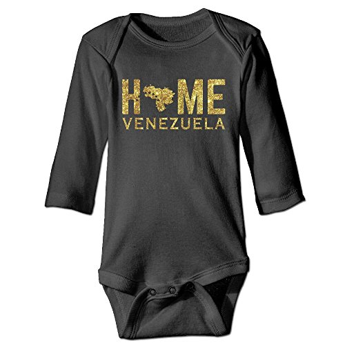Rfysqc Wposg Venezuela Home Map Stars Glitter Golden Unisex Baby Toddler Long Sleeve Onesies Bodysuits Cotton 6 (Glitter Black Stars Snap)