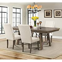 Picket House Furnishings Dex Dining Set-Table, 4 Upholstered Side Chairs Rustic/Smokey Walnut/Rubber Wood/5 Piece