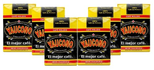 Yaucono Ground Coffee from Puerto Rico Cafe Molido 6 Bags of 14 Ounces Each