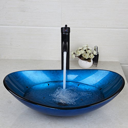 Yanksmark 22.4'' Blue Glass Wash Bowl Vessel Sink Vanity sinks & Oil Rubbed Bronze Bathroom Faucet Combo Set Come With Pop Up Drain Vanity Sink by YANKSMART