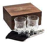 Premium Whiskey Stones Gift Set - 2 Large Whiskey Glasses, 8 Granite Scotch Chilling Rocks, Tongs, Velvet Pouch in Elegant Wooden Gift Box Packaging - by LEEBS