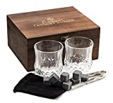 Premium Whiskey Stones Gift Set - 2 Large Whiskey Glasses, 8 Granite Scotch Chilling Rocks, Tongs,...