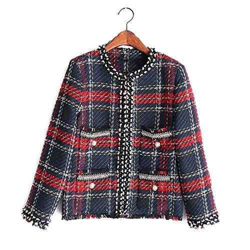 Corta De Plaid Abrigo Perlas Tweed Mujeres Chic Chaqueta Dgfhr Open Mujer Stitch Imitación cuello O T5wA7Pq5