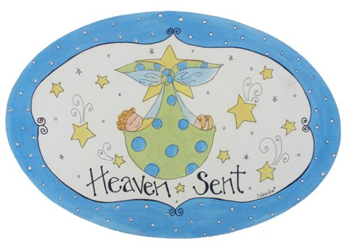 The Kids Room by Stupell Heaven Sent with Blue Border Oval Wall Plaque - Kid Drawn Border