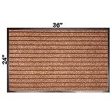 Goodxin XX1-12 Indoor Outdoor Mats Rubber Entrance Doormat Dirt Debris Mud Trapper Waterproof Out Door Mat Low Profile Washable Carpet (36''X24'', Brown)