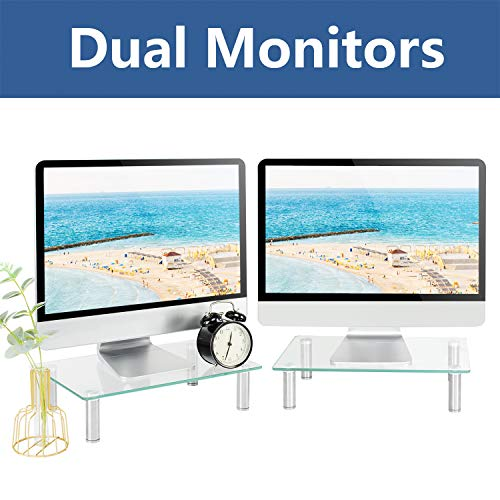 Rfiver Dual Monitor Stand Riser 2 Pack Multifunctional Desktop Organizer Computer Tabletop Screen Riser Stand for TV PC iMac Laptop Printer, Sturdy Made of Tempered Glass & Stainless Steel Legs CM2004 (Benefits Of Dual Monitors In The Workplace)