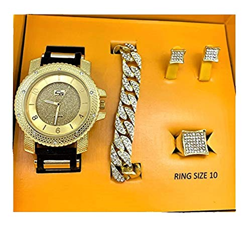 Bling-ed Out It's Lit! Hip Hop Watch & Jewerly Set w/Cuban Chain Bracelet, Kite Bling Earrings & Ring - GJM13 Gold