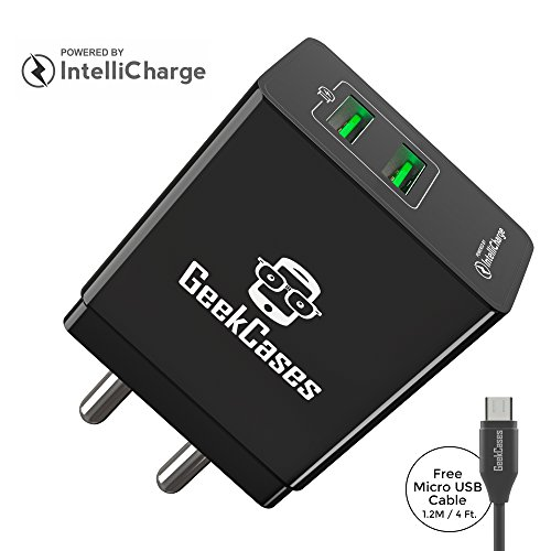 GeekCases ZipCube 2 USB / 3.4A Universal Wall Charger Adapter  Black, with Micro USB Cable