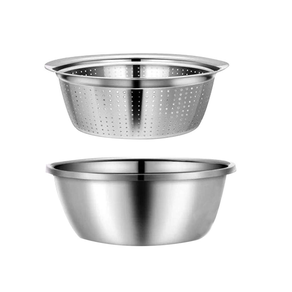Elaco 2Pcs 28cm 2-in-1 Kitchen Strainer/Colander & Bowl Sets, Multifunction Thick 304 Home Kitchen Stainless Steel Sink Drain Basin Set Space-Saver, for Fruits Vegetable Cleaning Washing Mixing