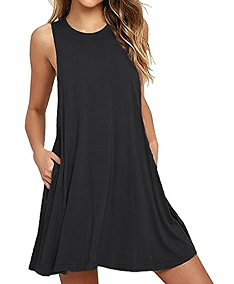 Camisunny Women Sleeveless Summer Casual Dresses Beach Cover Up