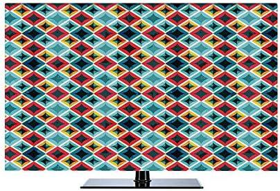 テレビカバー 防塵カバー 65インチのテレビに適用 液晶テレビカバー カバー ディスプレイ 幾何学的な グランジカラフルなモザイク対角線の芸術的な正方形フレームクリスタル効果画像装飾 多色