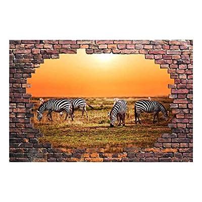 Wall26 Zebras in Africa Savannah 3D Vinyl - Removable Wall Mural - 66