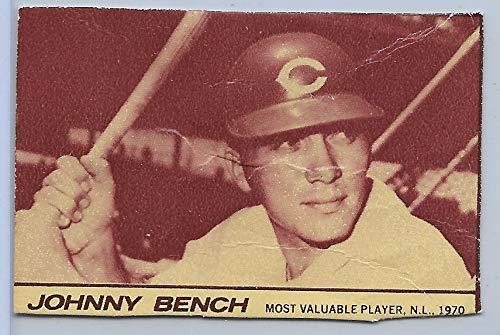 - 1971 Milk Duds Candy Johnny Bench Hand Cut Card Cincinnati Reds