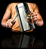 Fernet/Beer Glass Guiro Cup With Holder & Scraper - Stainless Steel Finish - Professional Latin Percussion Instrument - Cuban Guira - Musical Merchandise with Logo Puerto Rico FLAG - Gift Cup