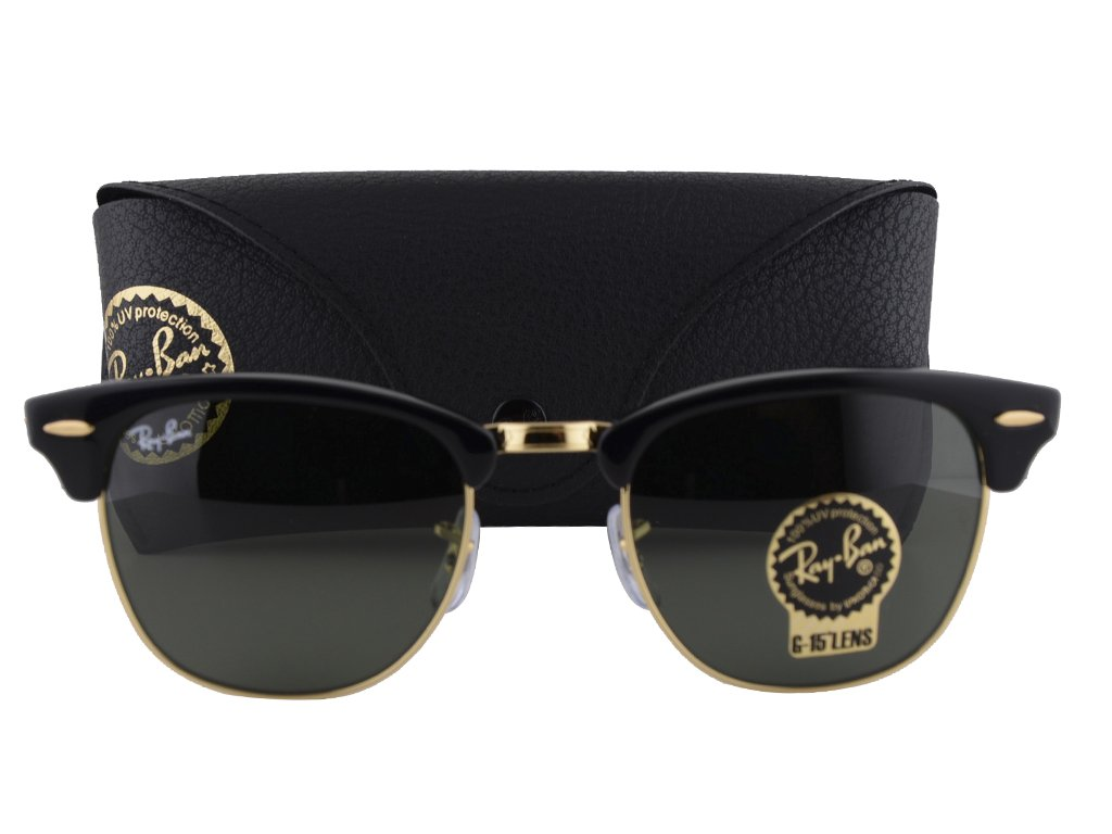 Ray-Ban RB3016 Clubmaster Sunglasses Black Gold w/Gray Green Lens W0365 RB 3016 by Ray-Ban
