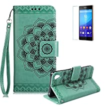 Sony Xperia Z5 Case [with Free Screen Protector],Funyye Classic Vintage [Sunflower Flower Pattern] Premium Folio PU Leather Wallet Magnetic Flip Full Protection Holster Case for Sony Xperia Z5-Green