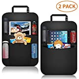 Car Organizer Back Seat+ Car Back Seat Protector + Waterproof Kick Mat,Clear Touch Screen Tablet Holder for Kid/Travel with Multi Pocket ,Car Seat Organizer,Back of Seat Storage with 2 Pack(Black)