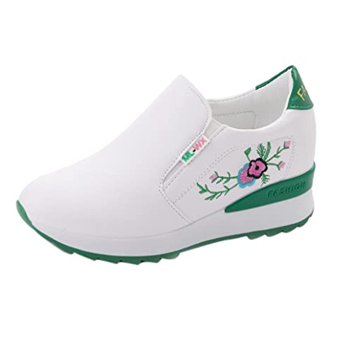 Siswong Las Mujeres Zapatos Lona de Cuña Oculta de Tacón Alto Plataforma Zapatillas Blancas de La
