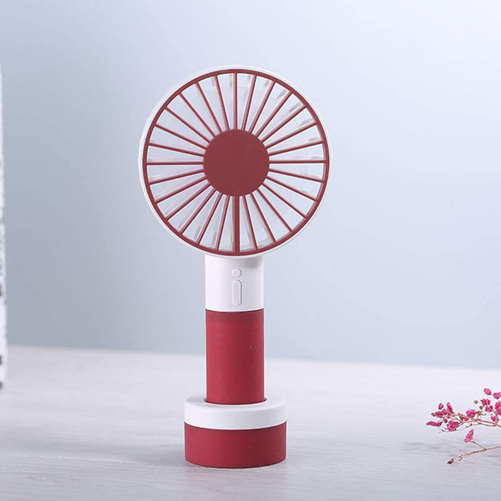 WEISHA 2in1 Mini Handheld Fan with Colorful Light Sports Portable Rechargeable USB Fan with Standing Base 3 Speed Desktop Fan for Outdoor Trip Camping Office