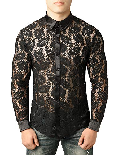 - JOGAL Men's See Through Flower Lace Sheer Blouse Long Sleeve Button Down Shirts Medium Leaf