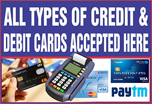 Posterpot All Types of Credit & Debit Cards Accepted Here Sticker Poster (13×19 Inches, Wall Poster, Matte, Multicolor)