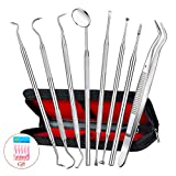 Dental Tools Kit, Apsung 8 PACK Dental Pick Oral Care Kit,Stainless Steel Dental Scaler Kit Set, Tooth Scraper Plaque Tartar Tweezers + Gift Dental Floss