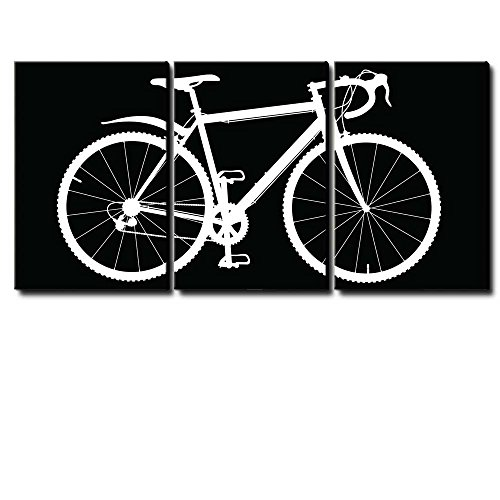wall26 - 3 Piece Panel of a White Silhouette Bicycle on a Black Background - Canvas Art Home Decor - 16x24 inches]()