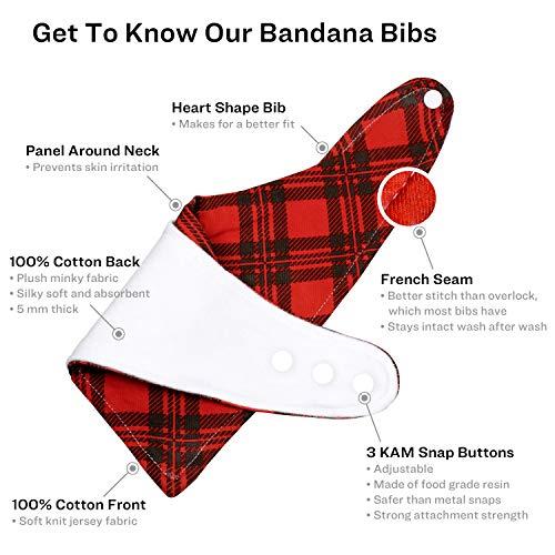 Bandana Bib with Blue Plaid Print and Snap Closure Bibdana teething bandana drool bib