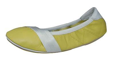 9f72aa0f816 PUMA Rudolf Dassler Rhythm Womens Leather Ballet Pumps Shoes-Yellow-5.5