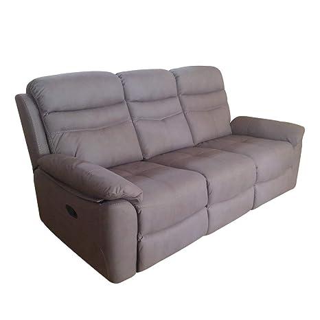 Divano 3 Posti 2 Relax.R R Design Divano A 2 Posti Relax Manuale Reclinabile Tessuto