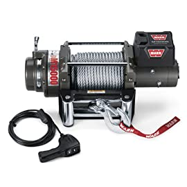 WARN 47801 M15000 Series Electric 12V Heavyweight Winch with Steel Cable Wire Rope: 7/16″ Diameter x 90′ Length, 7.5 Ton (15,000 lb) Pulling Capacity