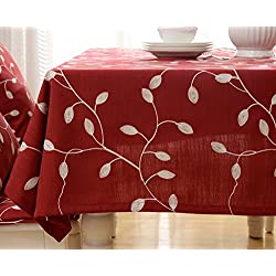 """Tina Cotton Linen Tablecloth Leaf Embroidered Table Cover for Dinner Kitchen Red, 52""""x52"""""""