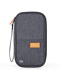 Travel Passport Wallet, RFID Blocking, KINGMAS Family Passport Holder Document Organizer Ticket Case (Grey)
