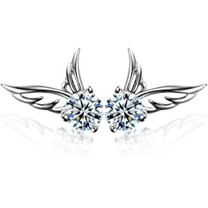 83c844dd4 Angel Wings Stud Earrings with White Crystals from Swarovski 18 ct White  Gold Plated for Women