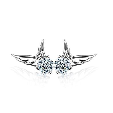 NANHONG 925 Sterling Silver Jewelry Angel Wings Crystal Stud Earrings qaKYBpaEc8