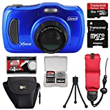 Coleman Xtreme4 C30WPZ Waterproof HD Digital Camera (Blue) with 16GB Card + Case + Tripod + Floating Strap + Kit