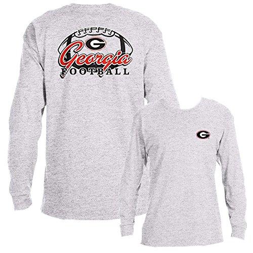 Georgia Bulldogs UGA Football Adult Long Sleeve T-Shirt (Ash Grey, - Athens Ga Clothing Mens