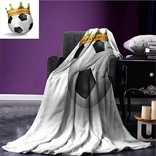 RenteriaDecor King Lightweight Blanket Football Soccer Championship Inspired Ball Crown with Ornaments Image Print Plush Throw Blanket QueenFullBlack White and Gold Bed or Couch 90