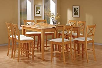 Amazon Com 9 Piece Maple Finish Counter Height Dining Set With Butterfly Leaf By Coaster Furniture Furniture Decor