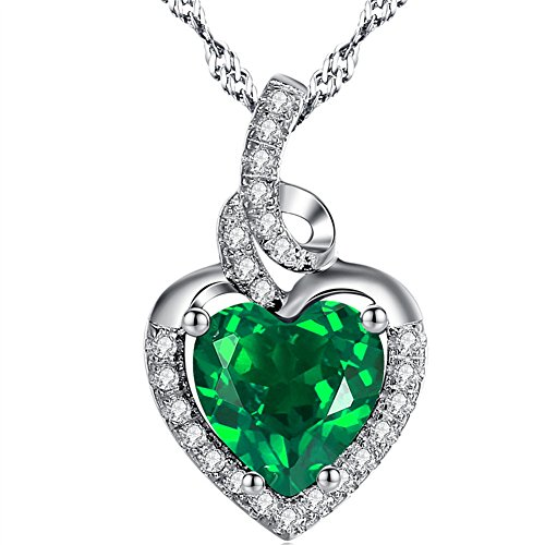 (MABELLA Simulated Emerald Birthstone Heart Necklace Sterling Silver Pendant for Women)