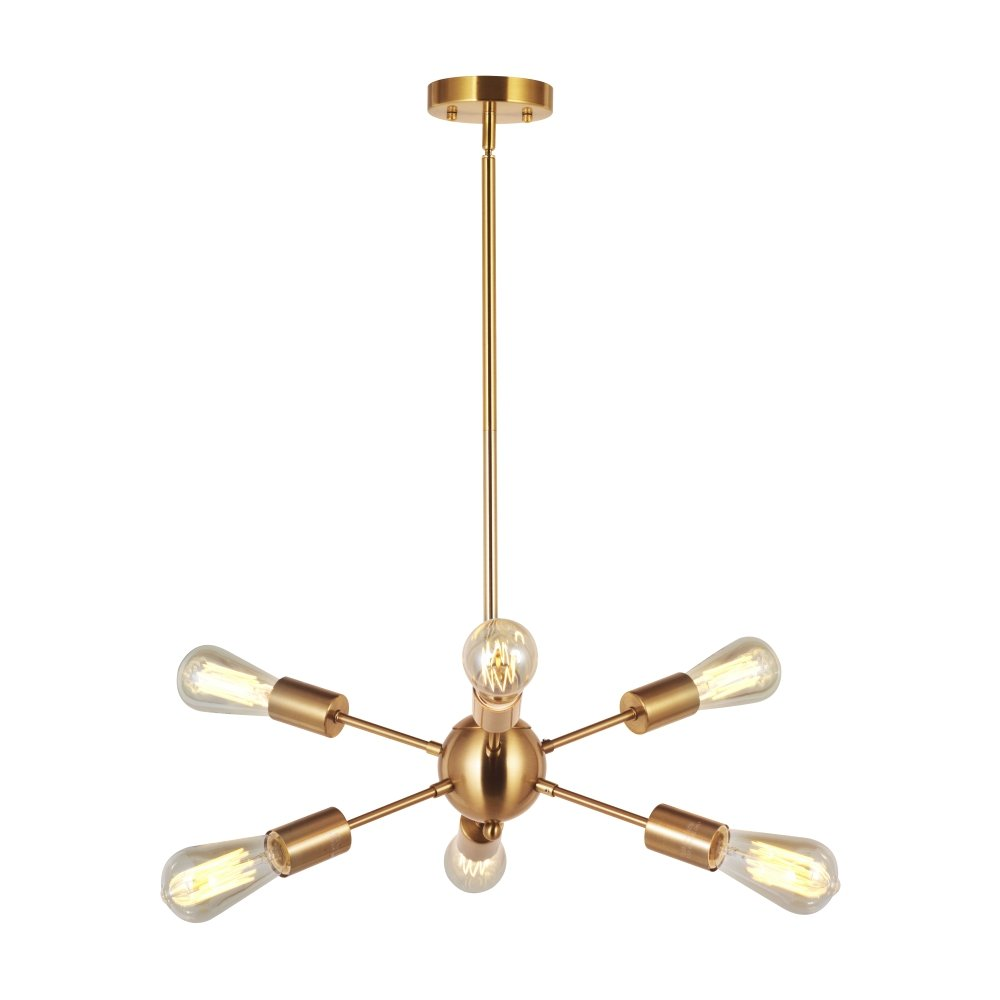 Modern Sputnik Chandelier Lighting 6 Lights Italian Designed Pendant Lighting Mid-Century Ceiling Light Fixture Brushed Brass By VINLUZ
