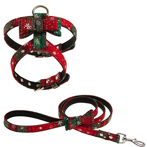 EXPAWLORER Christmas Small Dog Harness and Leash Set for Puppy & Cat - No Pull Adjustable Puppy Vest Cat Harness with Bowknot Easy On for Daily Walking