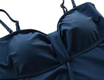 Hilor Womens Flyaway Tankini Top Bandeau Swimsuit Flowy Bathing Suit Tummy Conceal Swimwear