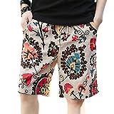 SQXIAN Men Casual Flower Floral Printed Beach Shorts