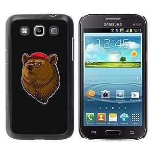 Caucho caso de Shell duro de la cubierta de accesorios de protección BY RAYDREAMMM - Samsung Galaxy Win I8550 I8552 Grand Quattro - Bear Brown Animal Forest Portrait Glasses Red Hat