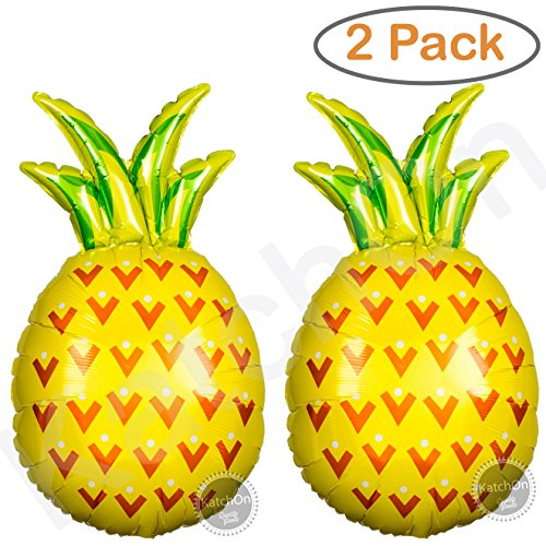 Giant Pineapple Helium Balloons Decorations - 2ct. Pineapple Decor for Pineapple Party Decorations | Luau Balloons | Pineapple Balloon Party Supplies | Fruit Balloons | Helium Supported 32 Inch
